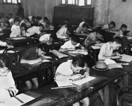 picture of students taking an exam at school